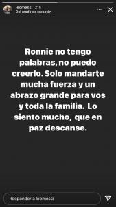 Messi le envió sus condolencias a Ronaldinho