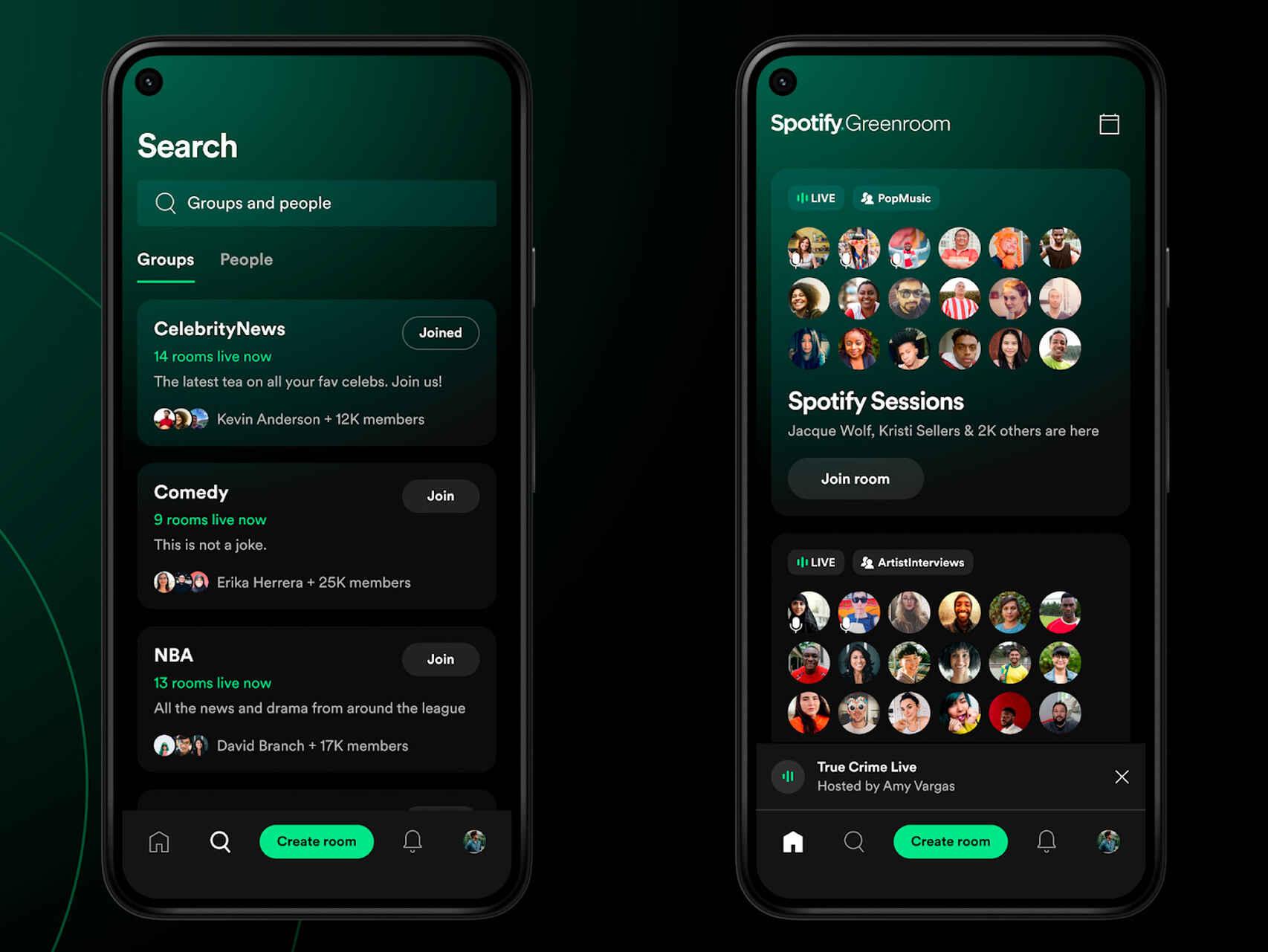 spotify greenroom descargar appstore play store android salas de audio grupos podcasts monetizacion plataforma aplicacion app