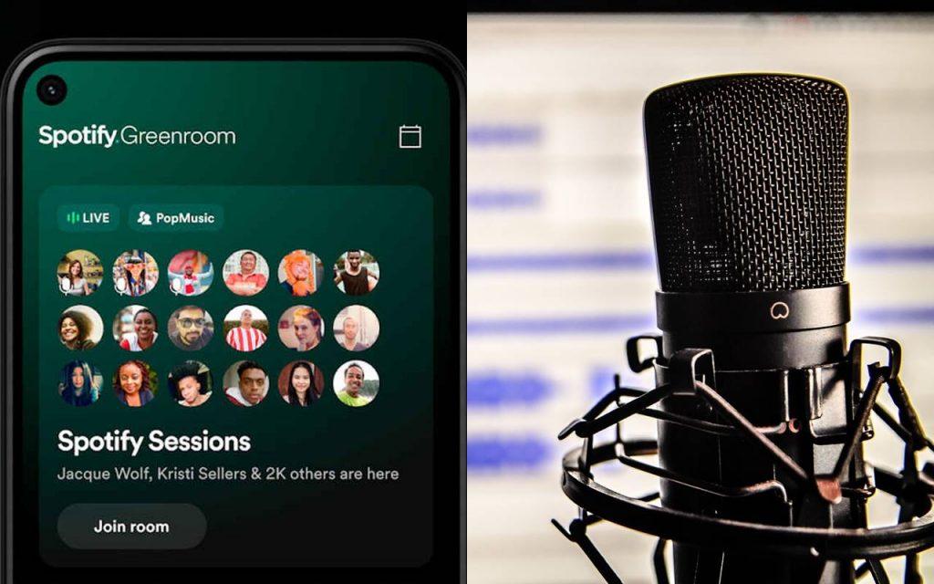 spotify greenroom podcast salas de audio grupos amigos